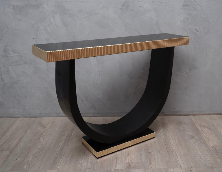 Midcentury Wood and Brass Console Table, 1930 For Sale 1