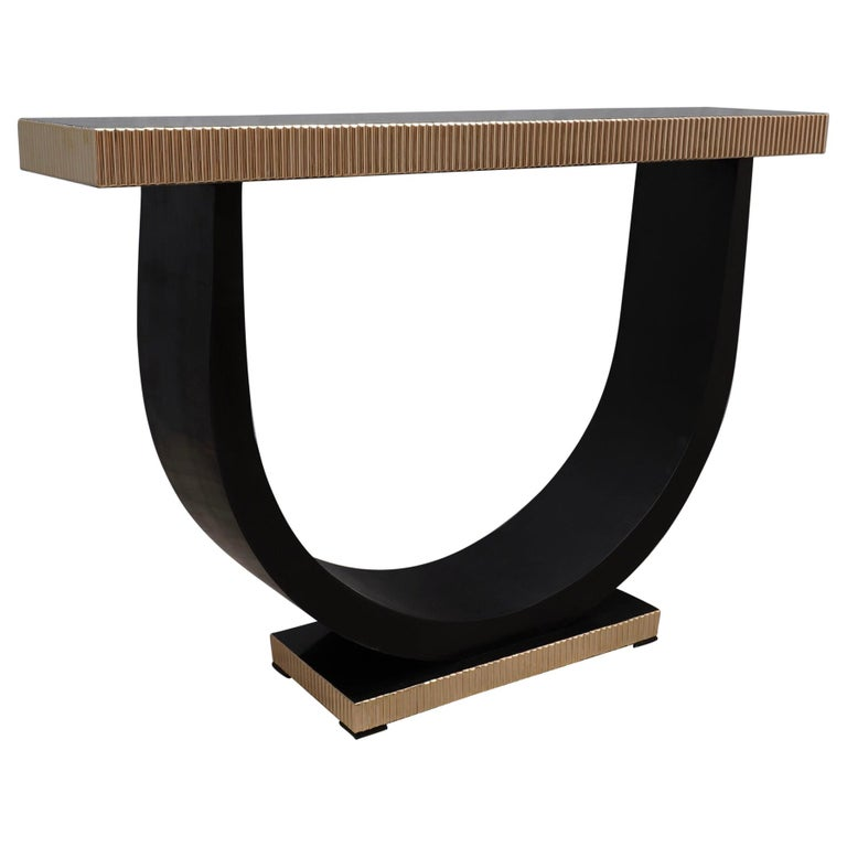 Midcentury Wood and Brass Console Table, 1930 For Sale