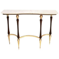 Midcentury Wood and Brass Console Table with Carrara Marble Top, Italy, 1950s