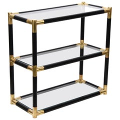 Midcentury Wood and Brass Italian Bookcase with Three Crystal Shelves, 1970s