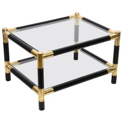 Midcentury Wood and Brass Italian Side Table with Two Crystal Shelves, 1970s