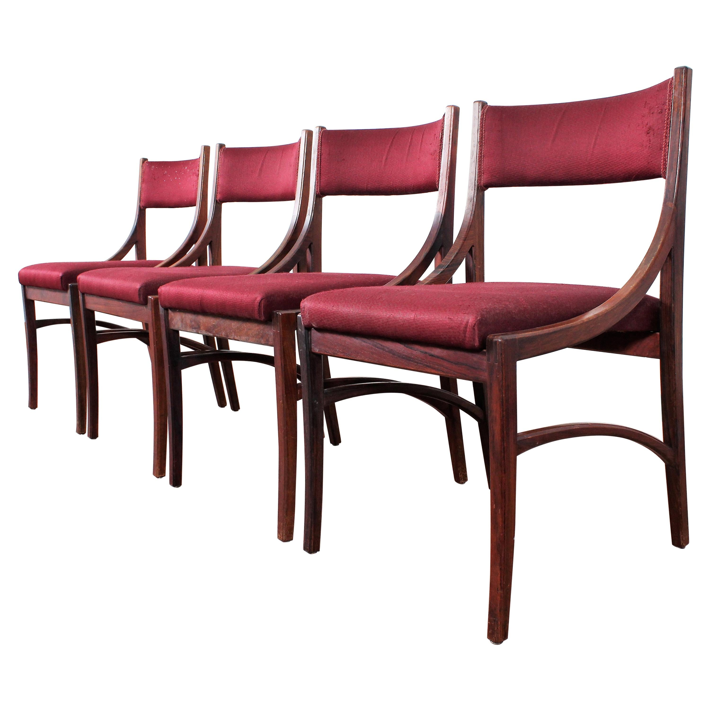 """Midcentury Wood and Burgundy Fabric Chairs """"mod 110"""" by Ico Parisi, Italy, 1960s"""