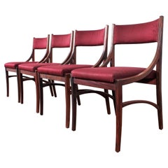 "Midcentury Wood and Burgundy Fabric Chairs ""mod 110"" by Ico Parisi, Italy, 1960s"