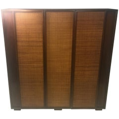 Midcentury Wood and Cane Cabinet by Heritage