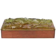 Midcentury Wood and Fused Art Green Glass Higgins Style Box by Robert Brown