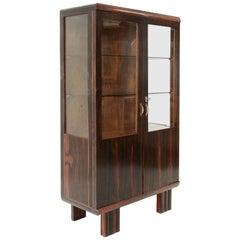 Midcentury wood and glass italian showcase, 1930s