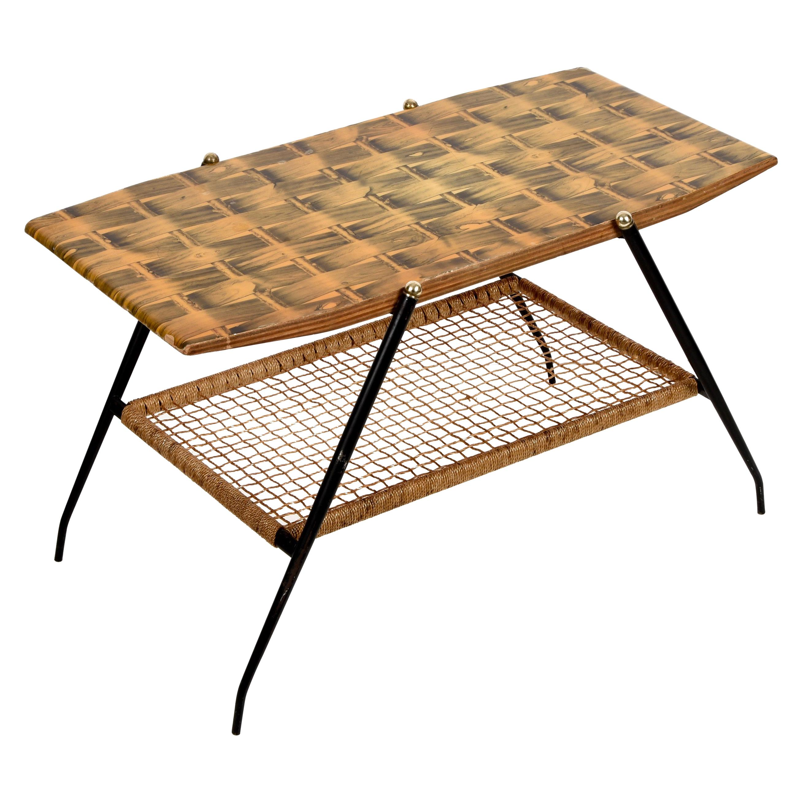Midcentury Wood and Metal Italian Coffee Table with Brass Magazine Rack, 1950s