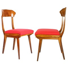 Midcentury Wood and Red Fabric Side Chairs from Fratelli Barni Mobili d'Arte