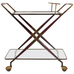Midcentury Wood, Brass and Glass Cart, 1950s
