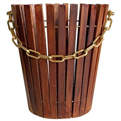 Midcentury Wood & Brass Chain Umbrella Stand or Waste Basket, 1950s, Italy