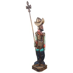 Midcentury Wood Carving Don Quixote Man with Spear Soldier Sculpture Statue