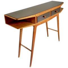 Midcentury Wood Console with Smoked Mirrored Top and Drawers