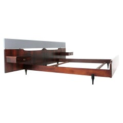 Midcentury Wood Italian Bed by Claudio Salocchi for Sormani, 1960s