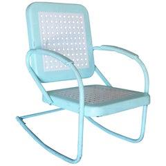 Mid-Century Style Steel Garden Rocking Chair