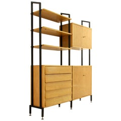 Midcentury Wooden and Black Metal Italian Wall Unit, 1950s