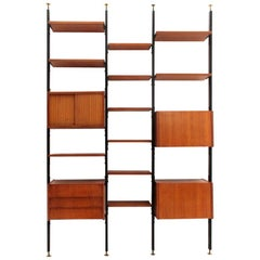 Midcentury Wooden and Black Metal Italian Wall Unit, 1960s