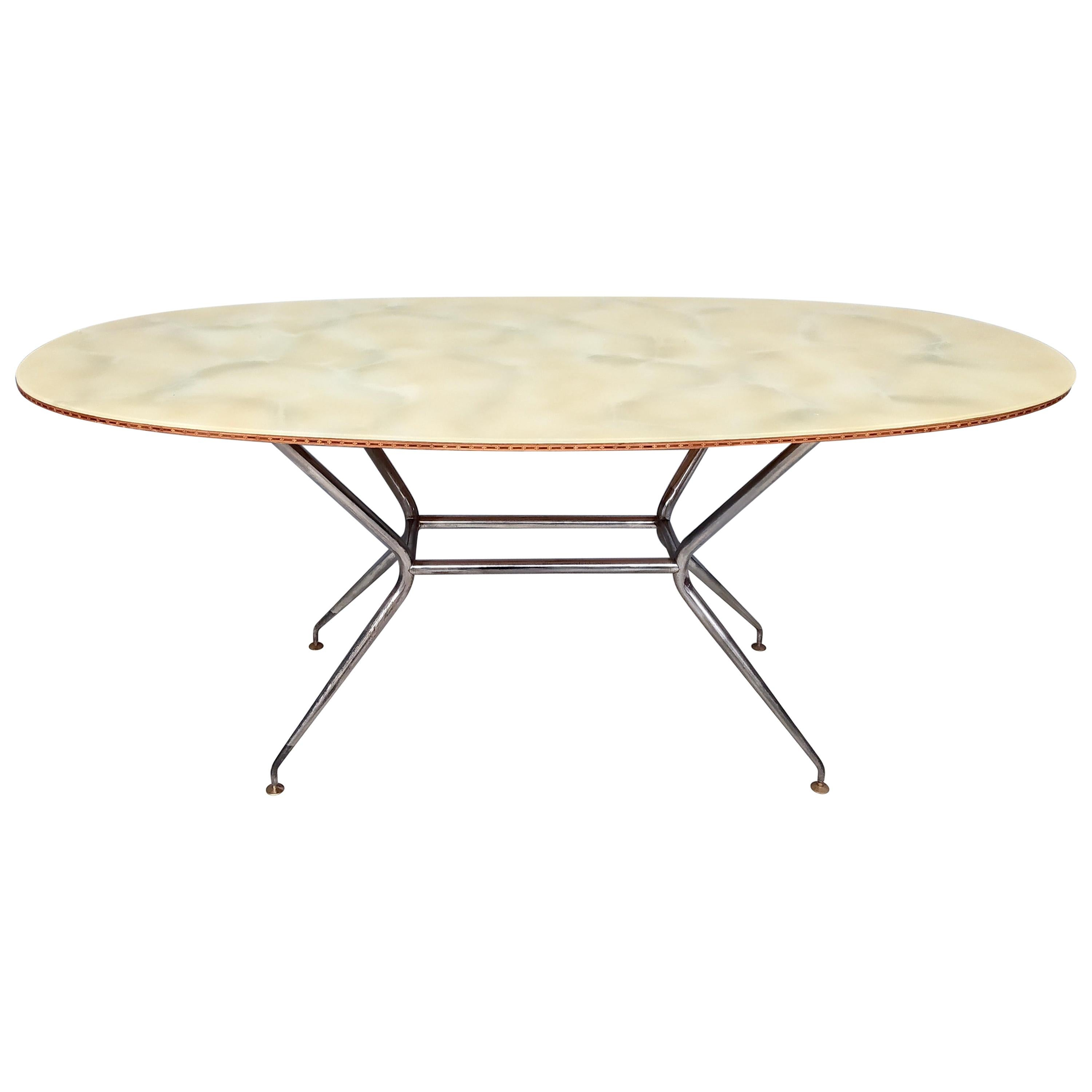 Midcentury Wooden and Iron Dining Table with a Glass Top, Italy