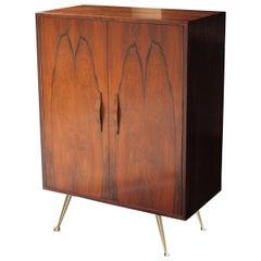 Midcentury Wooden Brass Bar Cabinet, Italy, 1950