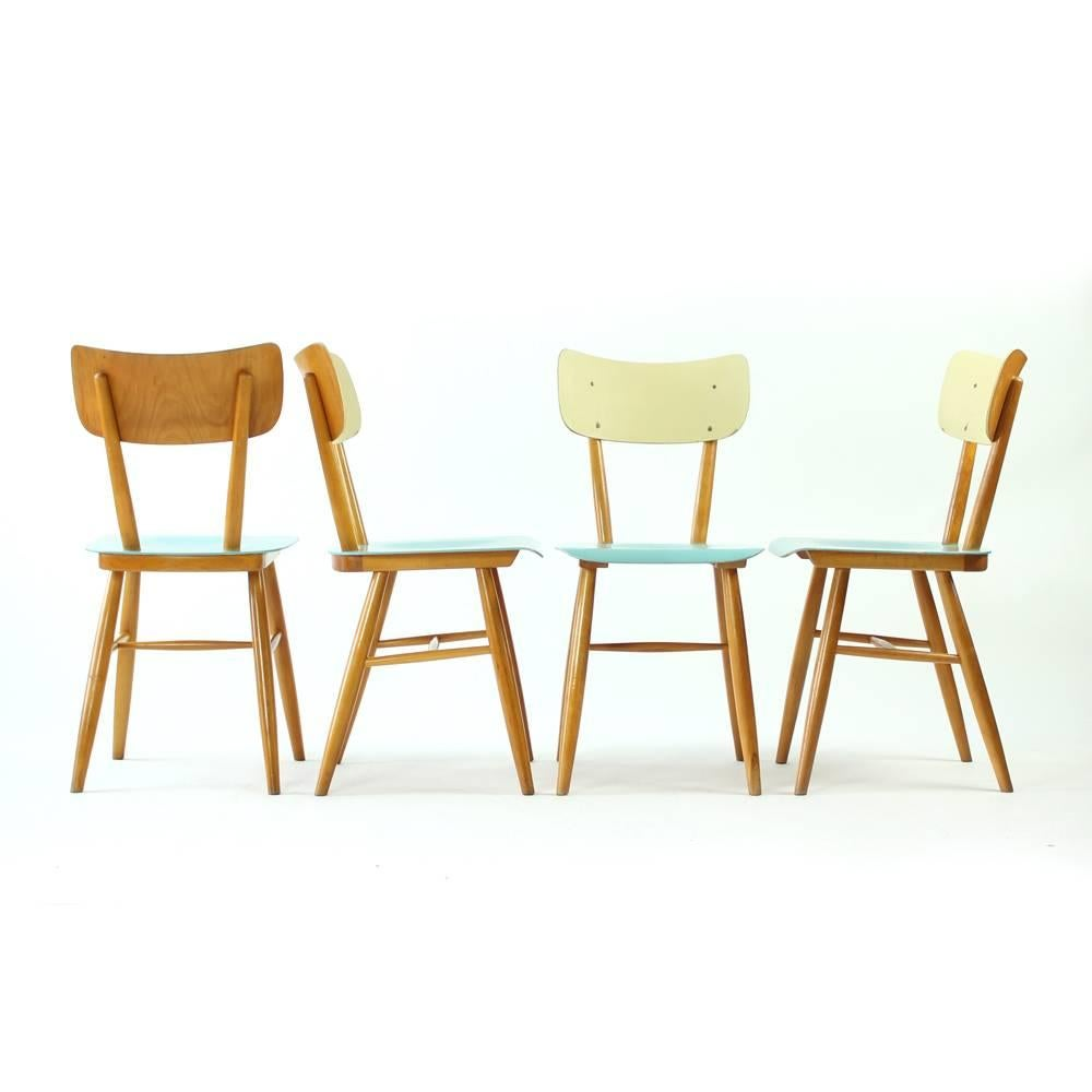 These Charming Chairs Were Produced By TON Company In 1960s. The Model Is  Also Commonly