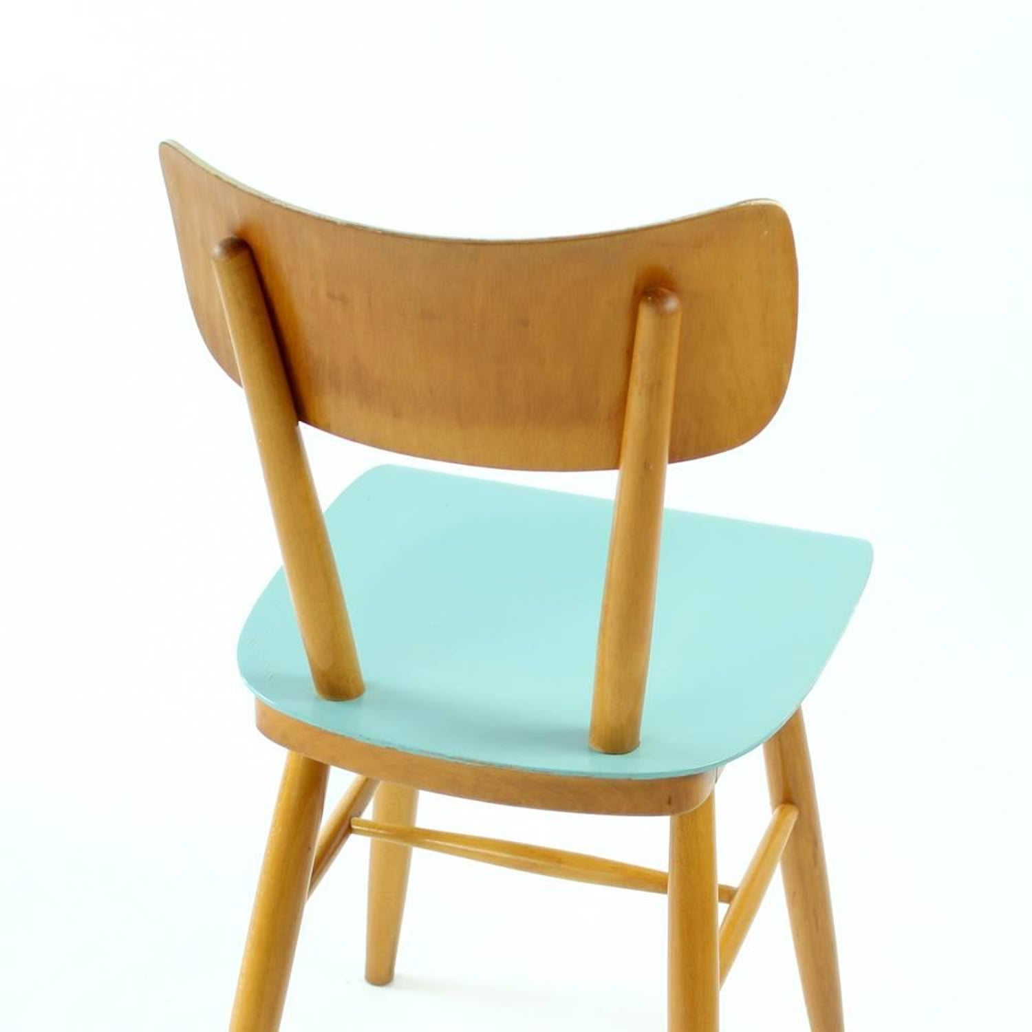 Midcentury Wooden Chairs in Blue and Cream Color by TON ...
