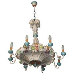 Midcentury Wooden Chandelier Garland of Fruits Style Della Robbia, Italy, 1950s