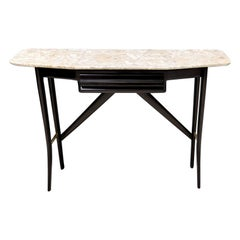 Midcentury Wooden Console Table with a Lumachella Marble Top, Italy