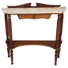 Midcentury Wooden Console Table with a Portuguese Pink Marble Top, Italy
