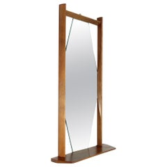 Midcentury Wooden Frame and Shelf Mirror, 1960s