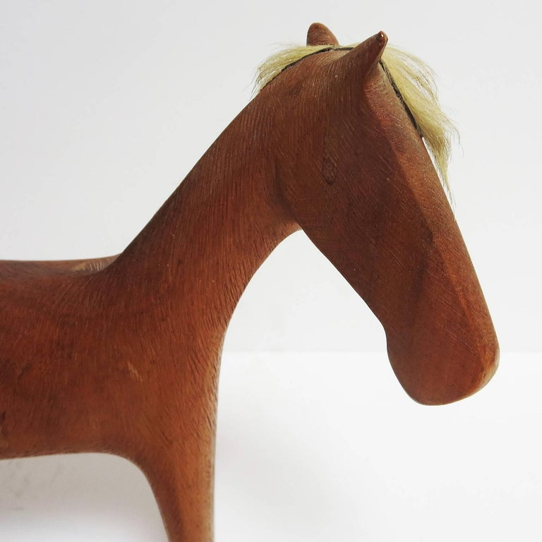 Hand-Carved Midcentury Wooden Horse Sculpture by Hagenauer For Sale