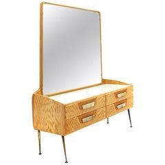 Midcentury Wooden Italian Chest of Drawers with Mirror, 1950s