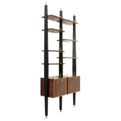 Midcentury Wooden Italian Wall Unit with Bar Unit, 1950s