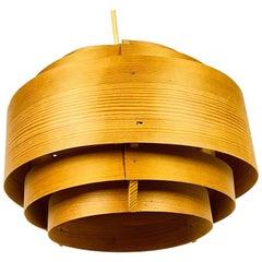Midcentury Wooden Pendant Lamp by Hans-Agne Jakobsson, Sweden, 1960s