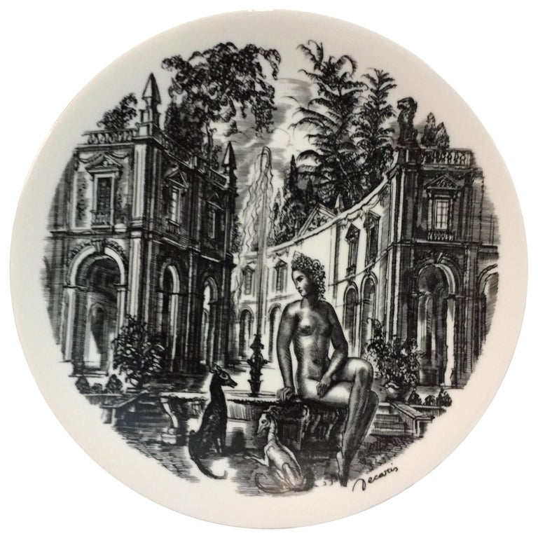 Midcentury Work of Art Hand Painted Porcelain Plate Limited Edition by Artist For Sale