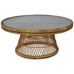 Midcentury Woven Rattan Coffee Table
