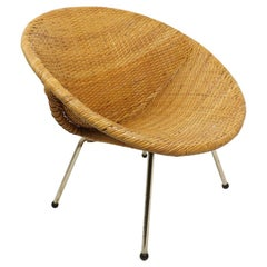Mid Century Woven Rattan Wicker Shell Chair by Tropic Cane