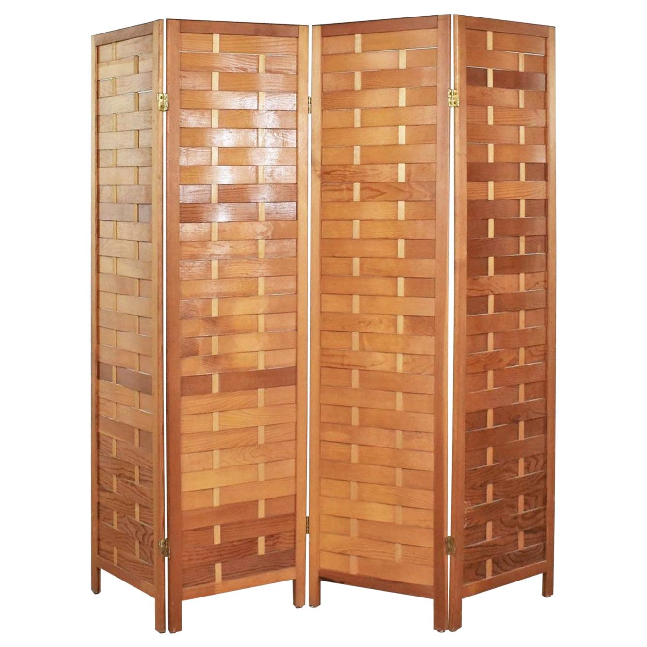 Midcentury Woven Wood Folding Screen 4-Panel Room Divider in Pine