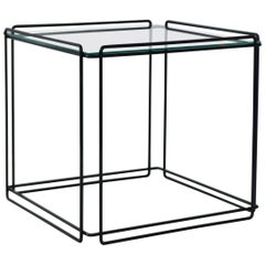 Midcentury Wrought Iron and Glass Side Table