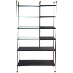 Midcentury Wrought Iron Étagère with Wood Ball Feet and Finials