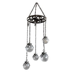 Midcentury Wrought Iron Five Mouth-Blown Glass Globe Octopus Shape Pendant Light