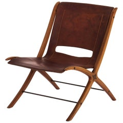 Midcentury 'X' Chair in Cognac Leather by Peter Hvidt, Denmark, 1950s