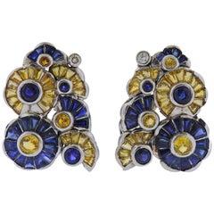 Midcentury Yellow Blue Sapphire Diamond Gold Earrings
