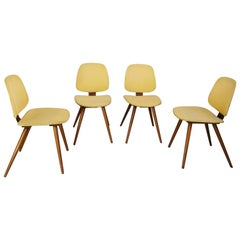 Midcentury Yellow Dining Chairs by Michael Thonet Austria 1950s, Set of 4