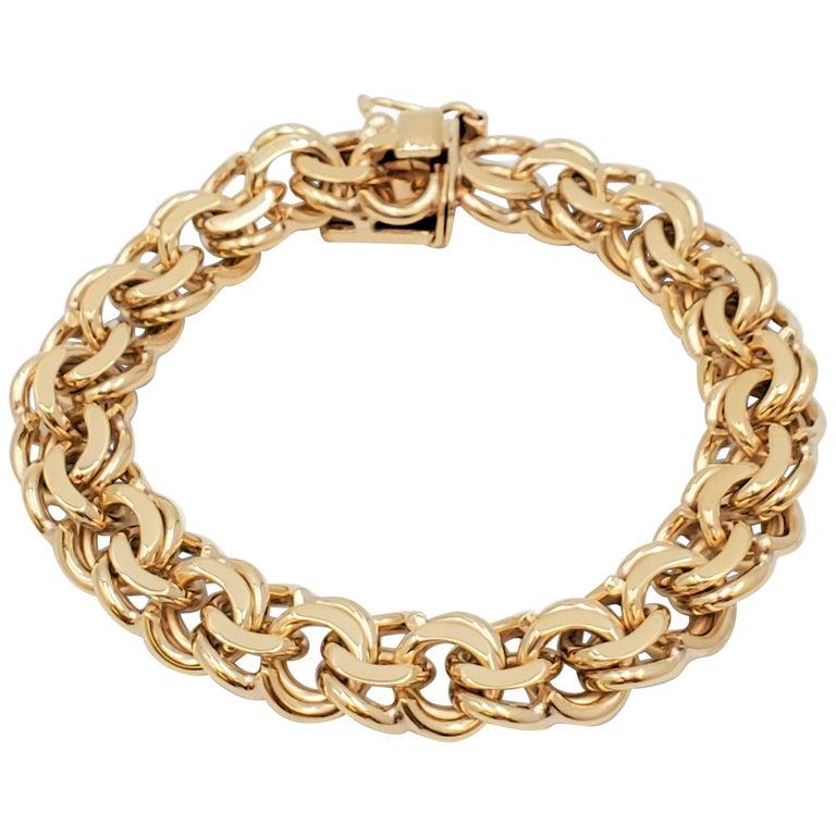 Midcentury Yellow Gold Fancy Link Bracelet For Sale