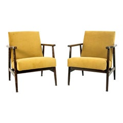 Midcentury Yellow Retro Armchairs from 1960s