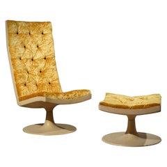 Midcentury Yellow Velvet Armchairs and Pouf, 1970