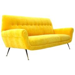Midcentury Yellow Velvet Italian 3-Seater Sofa, 1950s