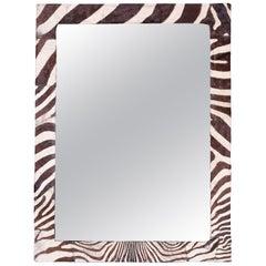 Midcentury Zebra Hide Mirror