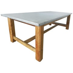 Midcentury Zinc Top Kitchen Dining Table French Pine Worktable, circa 1950