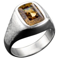 Midcentury Zircon Men's Ring 8.57-Carat Certified Untreated