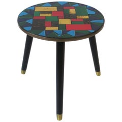 Mid-Centuy Modern Tile Mosaic Round Side Table